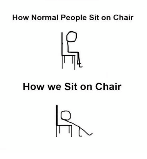 sitting on a chair